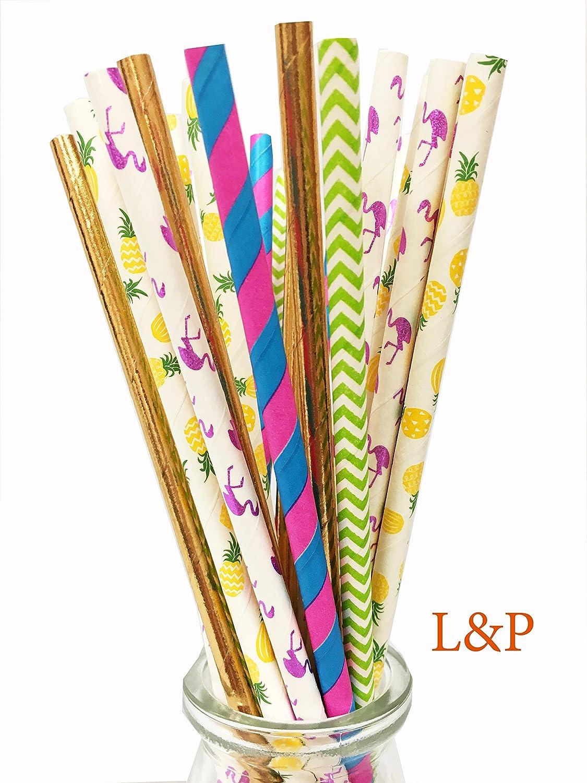 25x Flamingo Paper Straws+10x Cupcake Topper Food Picks Tropical Party Decor