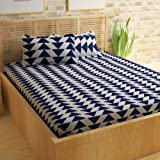 Story@Home Candy 120 TC Cotton Double Bed Sheet with 2 Pillow Covers - Geometric Triangles, Queen Size, White and Blue