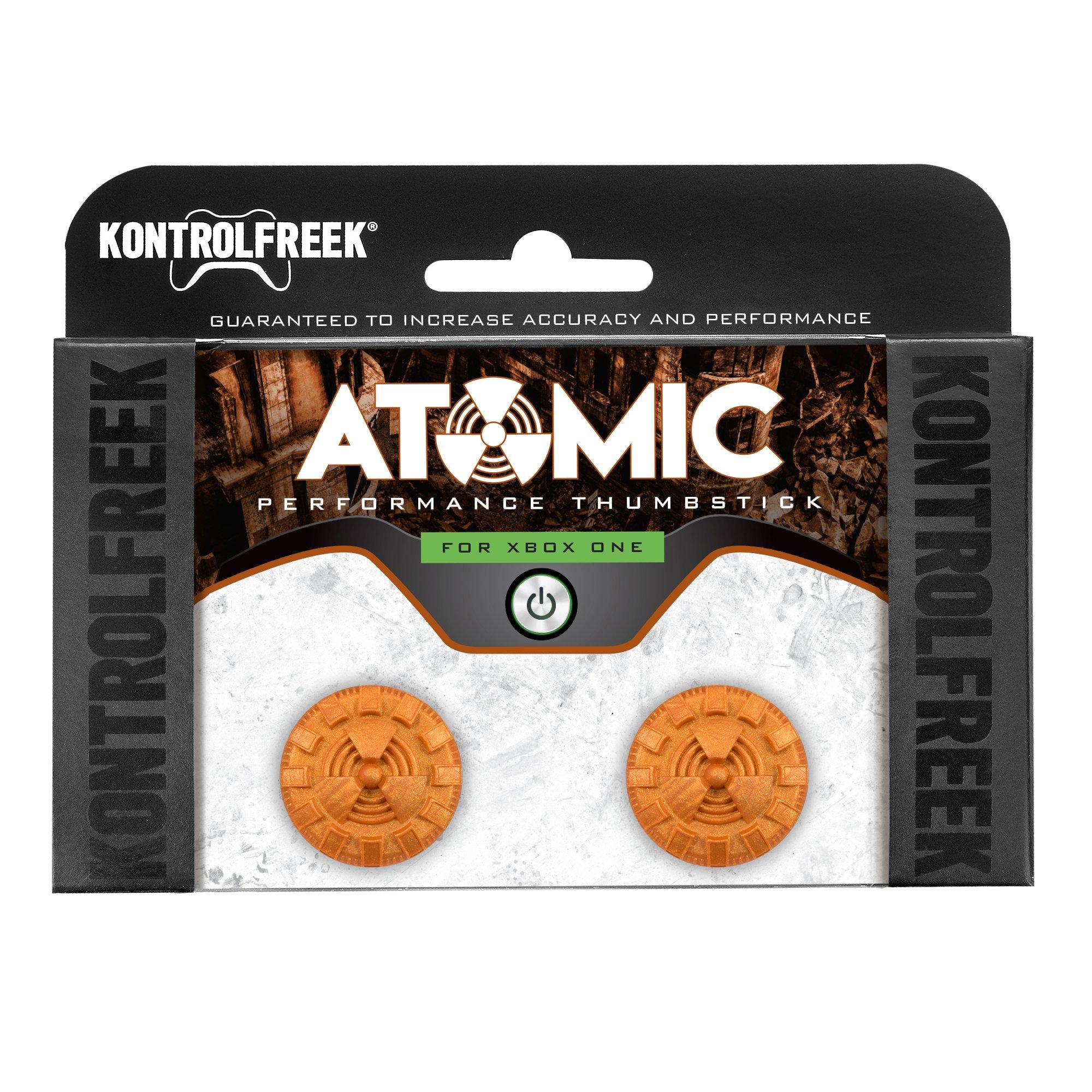 KontrolFreek Atomic for Xbox One Controller   Performance Thumbsticks   2 Mid-Rise Convex   Orange by Kontrolfreek