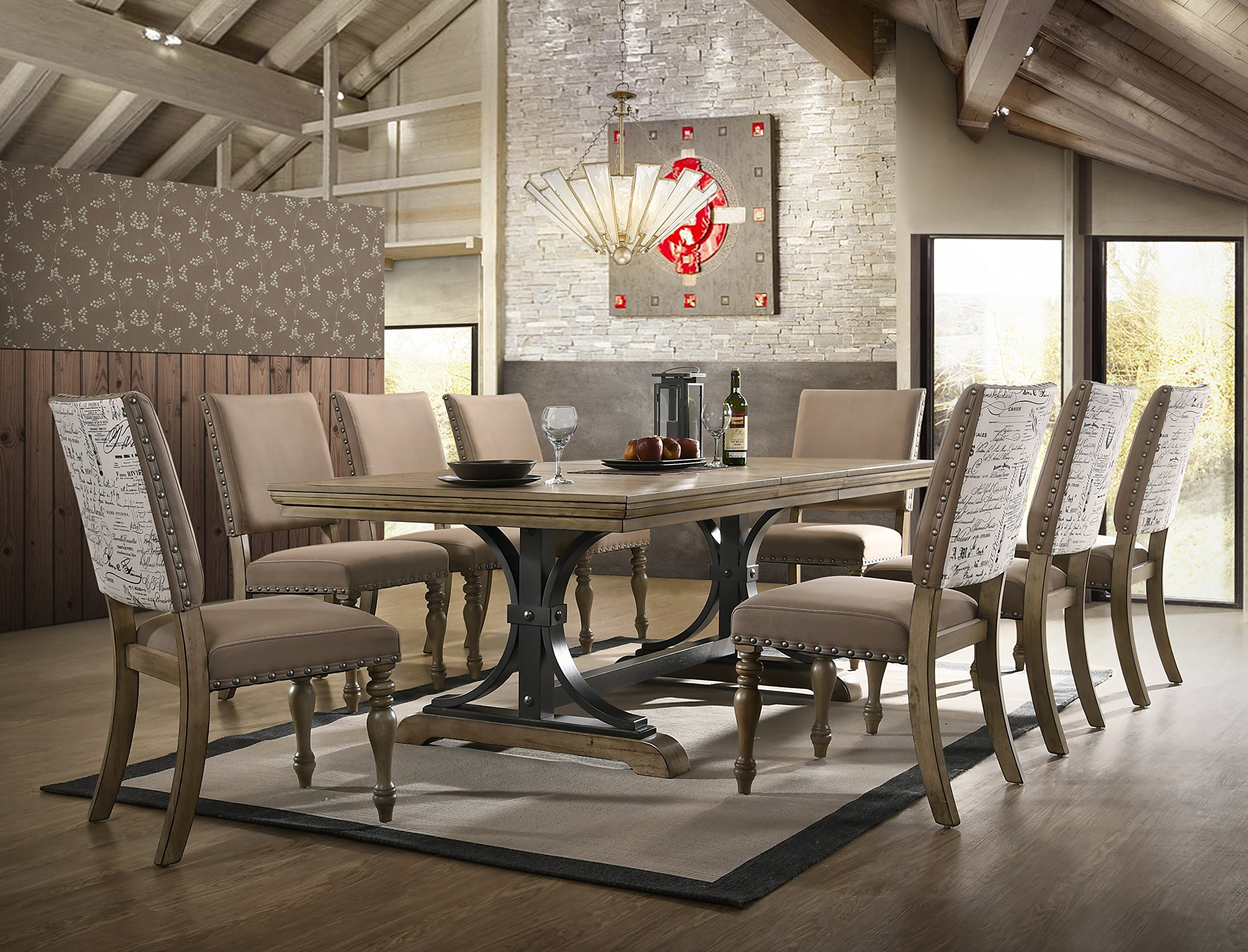 Roundhill Furniture T428-C428-C428-C428-C428 Kitchen and Dining Room Sets, One Size, Brown