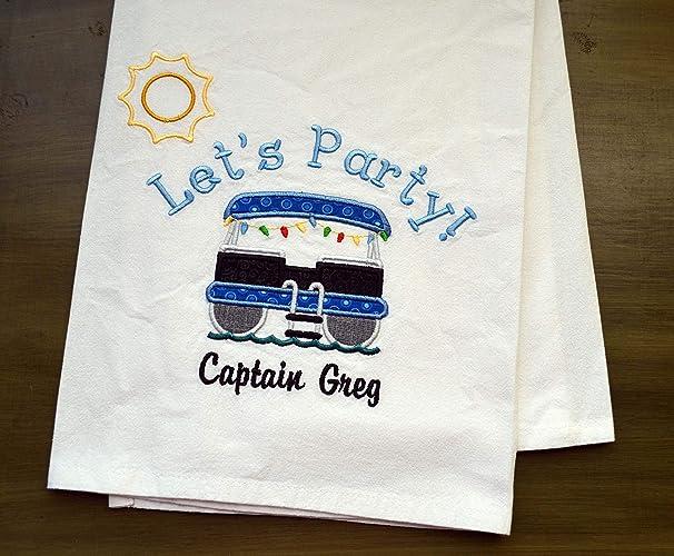 Amazon Com Custom Boat Towel Dish Towel Pontoon Party Boat