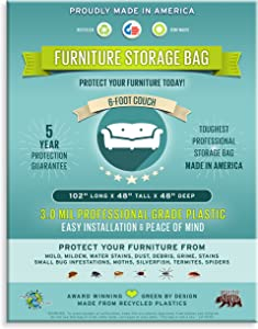 6 Foot Loveseat, Sofa or Couch Storage Bag. 3 Mil-Heavy Duty, Professional Grade Plastic.