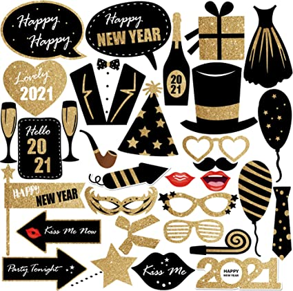 Amazon Com New Years Photo Booth Props 2021 Pack Of 32 Glitter Diy Required Black And Gold 2021 Photo Props For New Years Eve Party Supplies 2021 Happy New Year