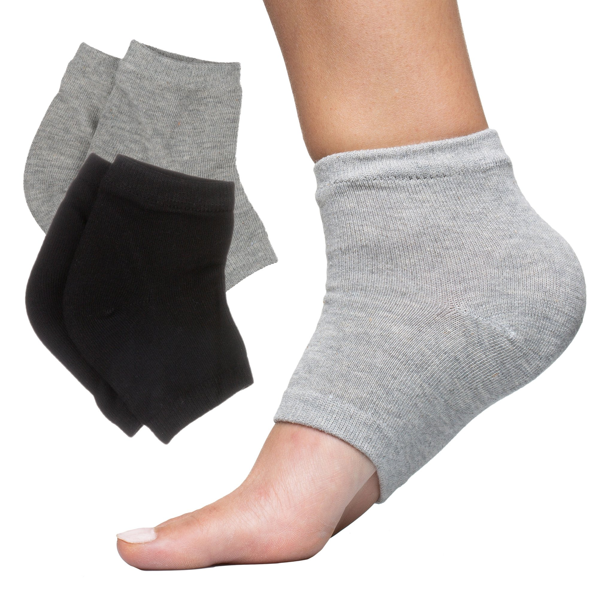 ZenToes Moisturizing Heel Socks with Gel to Heal Dry Cracked Heels (Cotton, Black and Gray)