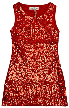 69a13a90019ff Girls Sequin Front Sleeveless Shimmer Sparkle Party Fashion Dress Sizes  from 3 to 12 Years: Amazon.co.uk: Clothing