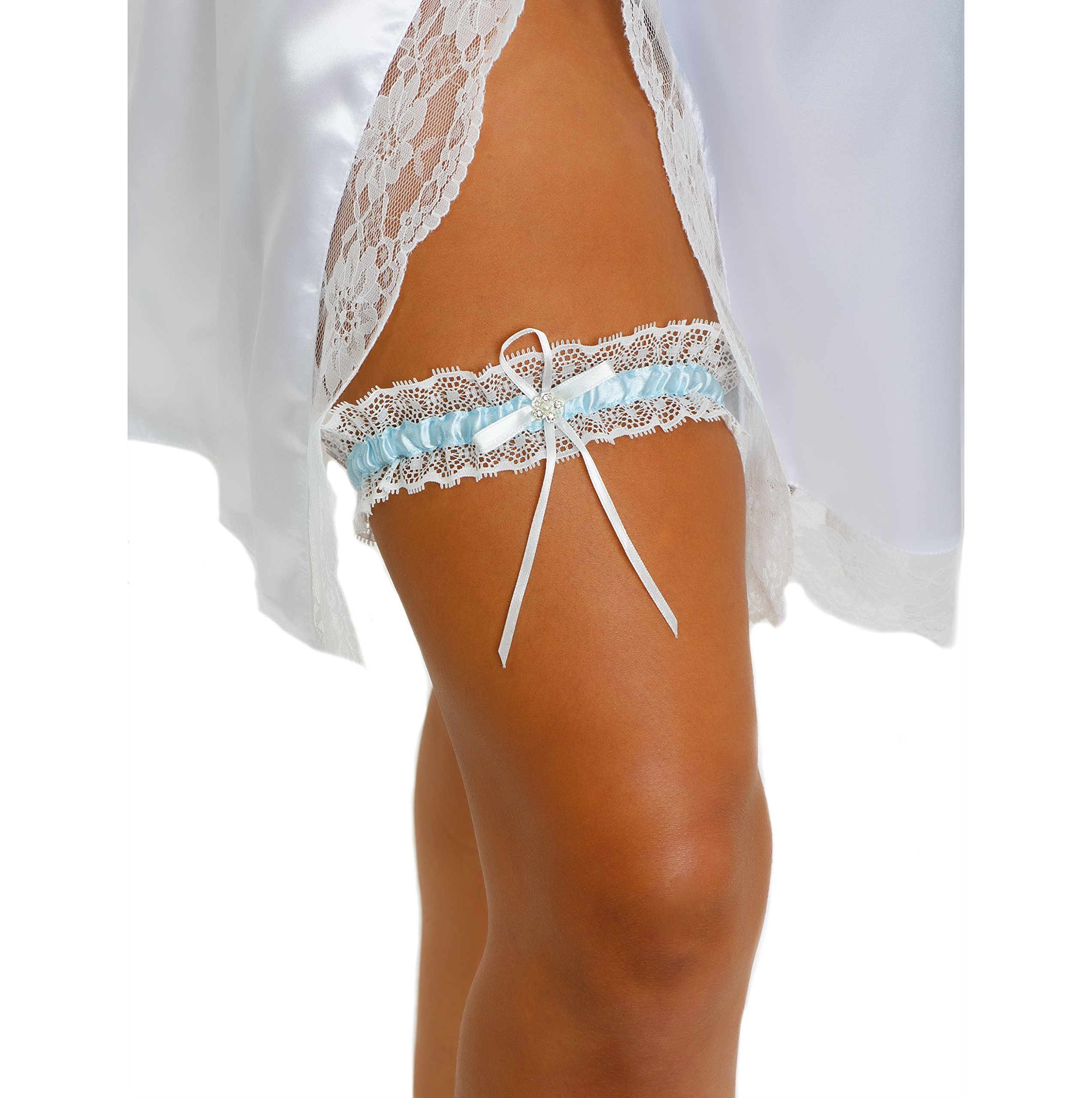 LR Bridal Blue Lace Wedding Bridal Garter Rhinestone Satin Bow Brides