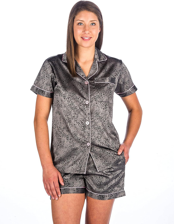 Noble Mount Womens Premium Satin Short Pajama Sleepwear Set