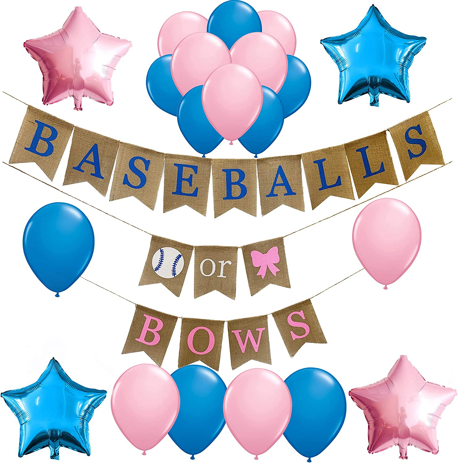 Large Foil Air Helium Balloons It/'s a boy girl Banner Bunting pink blue