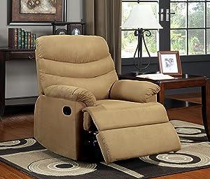 Furniture of America Singclaire Microfiber Recliner, Mocha