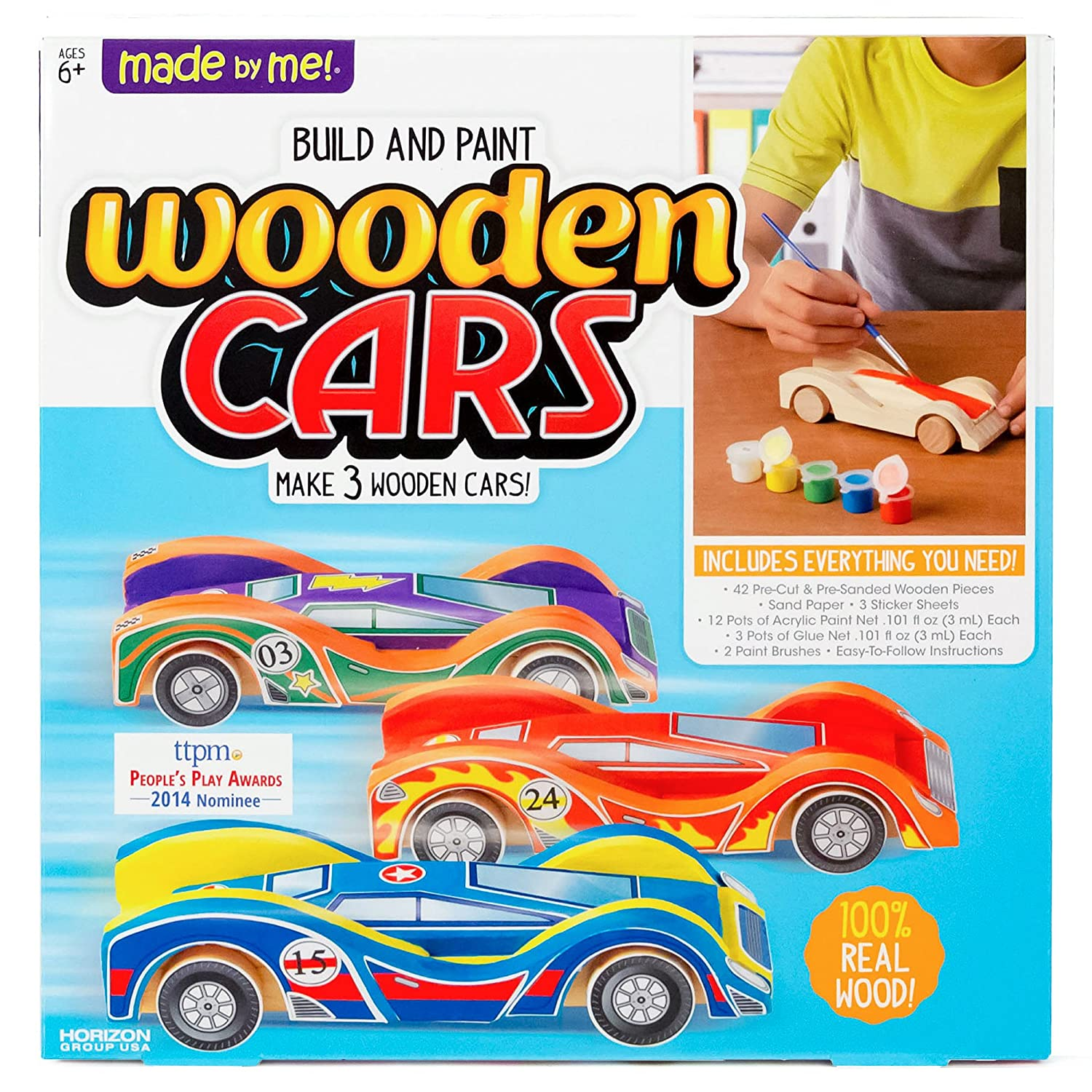 Made By Me Build & Paint Your Own Wooden Cars by Horizon Group Usa, DIY Wood Craft Kit, Easy To Assemble & Paint 3 Race Cars, Multicolored