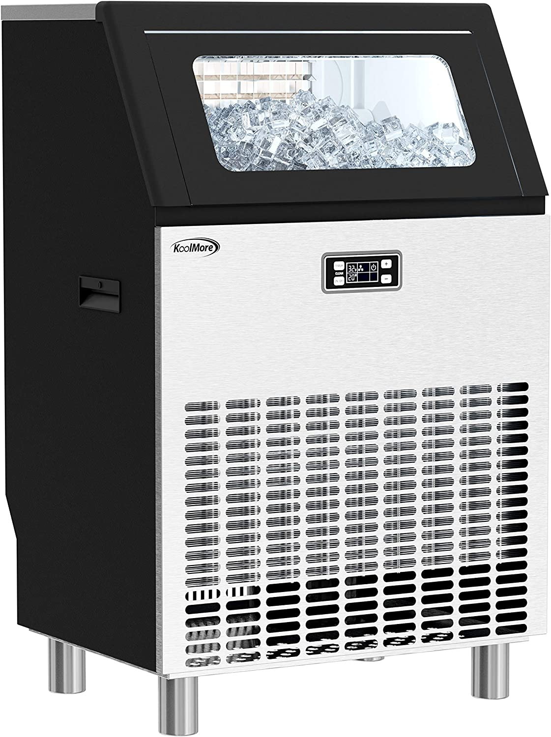 KoolMore Undercounter Ice Maker Machine, Commercial and Residential, Produces 198 lbs. of Cubes in 24 Hrs, Energy Efficient for Bar, Cafe, Restaurant or Event Use, Black