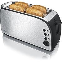 Arendo - Grille-Pain Automatique en Design Acier | 2 fentes longues |1500W | 7 niveaux réglable | fonction décongélation | réchauffe viennoiseries + plateau à miettes amovible | Argent/Noir