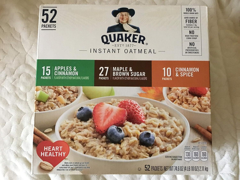 Quaker Instant Oatmeal 52 packets (Apples & Cinnamon; Maple & Brown Sugar; Cinnamon Spice)