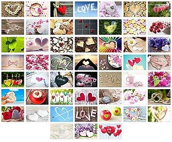 Set 52 Premium Postkarten zur Hochzeit Danke Herzen G/ästebuch Valentinstag Geburtstag Hochzeitsgeschenk 52 Postkarten Set 2 Hochzeitsspiel: eine Postkarte jede Woche Dekoidee Liebe