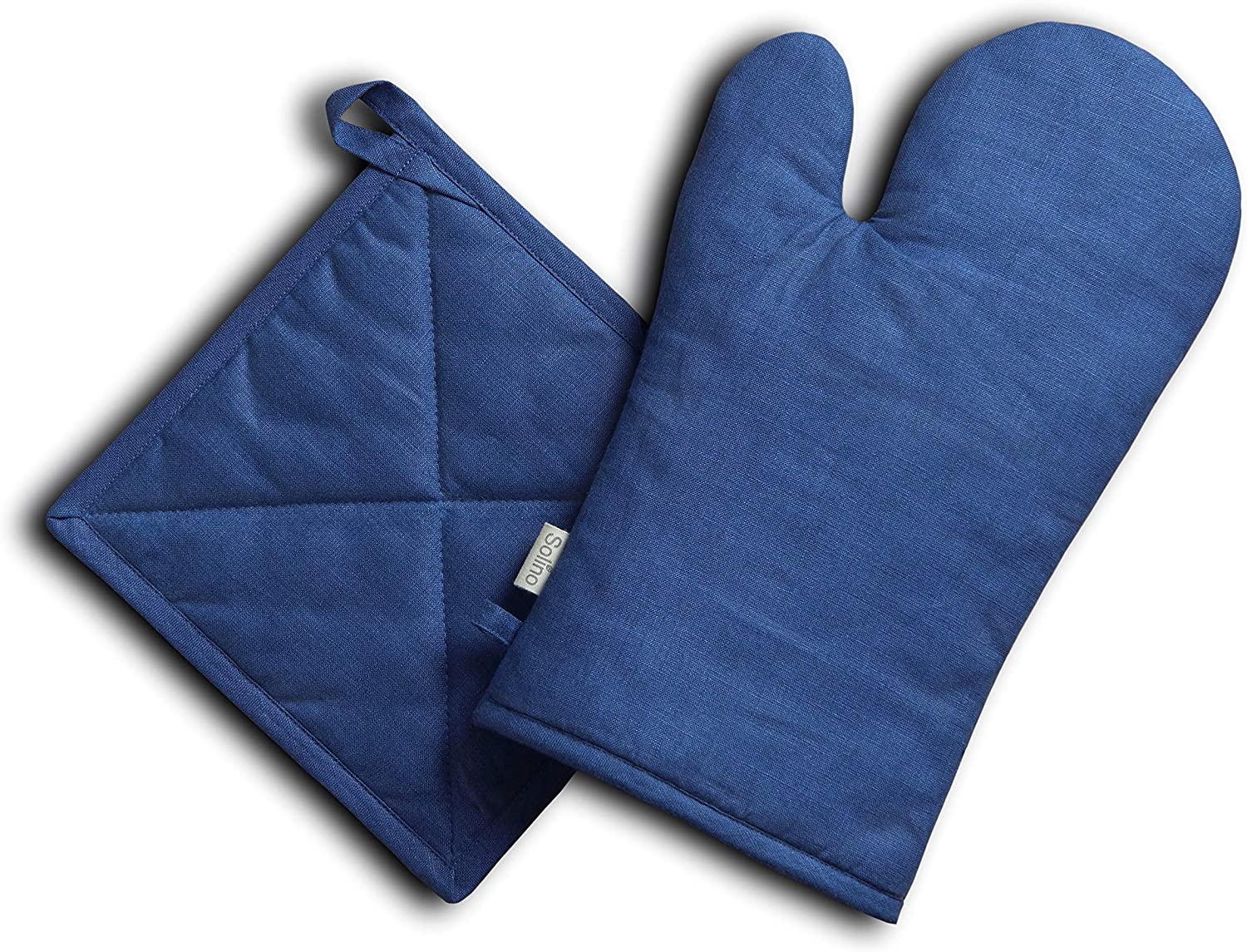 Solino Home Pure Linen Oven Mitt and Pot Holder Set – Blue, Oven Mitt (6.5 Inch x 12.5 Inch) and Pot Holder (8 Inch x 8 Inch)