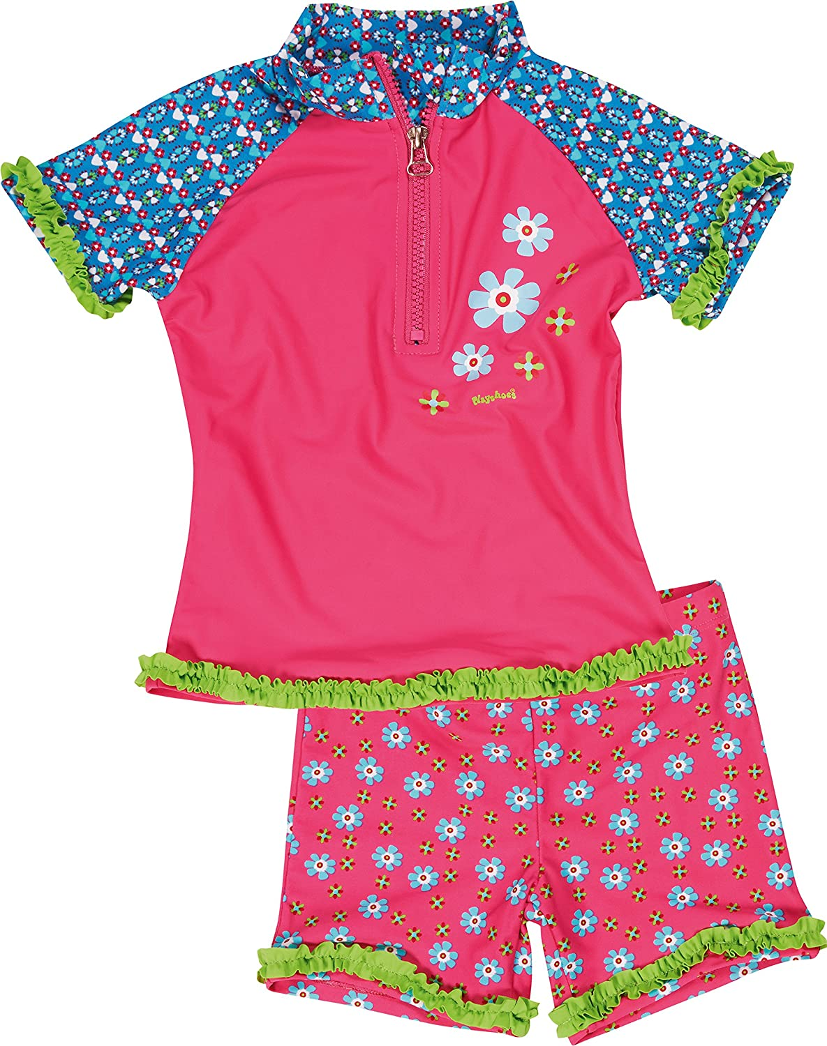 Playshoes Girl's UV Sun Protection 2 Piece Swim Set Flowers Swimsuit 460272