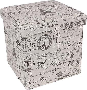 Amazon Com Songmics Storage Ottoman Cube Footrest Stool Puppy Step Holds Up To 660lb Linen Like Fabric Paris Eiffel Tower Script Pattern Furniture Decor