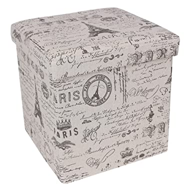 SONGMICS Storage Ottoman Cube Footrest Stool Puppy Step, Holds Up to 660lb, Linen-Like Fabric, Paris Eiffel Tower Script Pattern ULSF30X