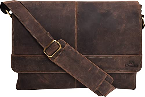 Genuine Leather Messenger Bag for Men and Women – 14 inch Laptop Bag for College Work Office by LEVOGUE BROWN CRAZY HORSE