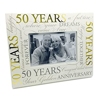 50th Golden Wedding Anniversary Photo Frame Gift With Scripts Boxed 6 X 4