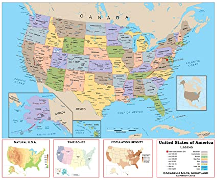 Amazoncom Academia Maps Us Intermediate Political Wall Map - Us-political-map