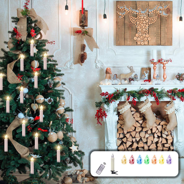 CCLIFE 20/30 Set RGB LED-Kerzen Weihnachtsbaum-Lichterkette Kerzenlichter Baumkerzen weihnachtsbaumbeleuchtung weihnachtsbaumlicht- Kabellos, Farbwechsel durch Fernbedienung, Farbe:Beige, Größe:30er Größe:30er