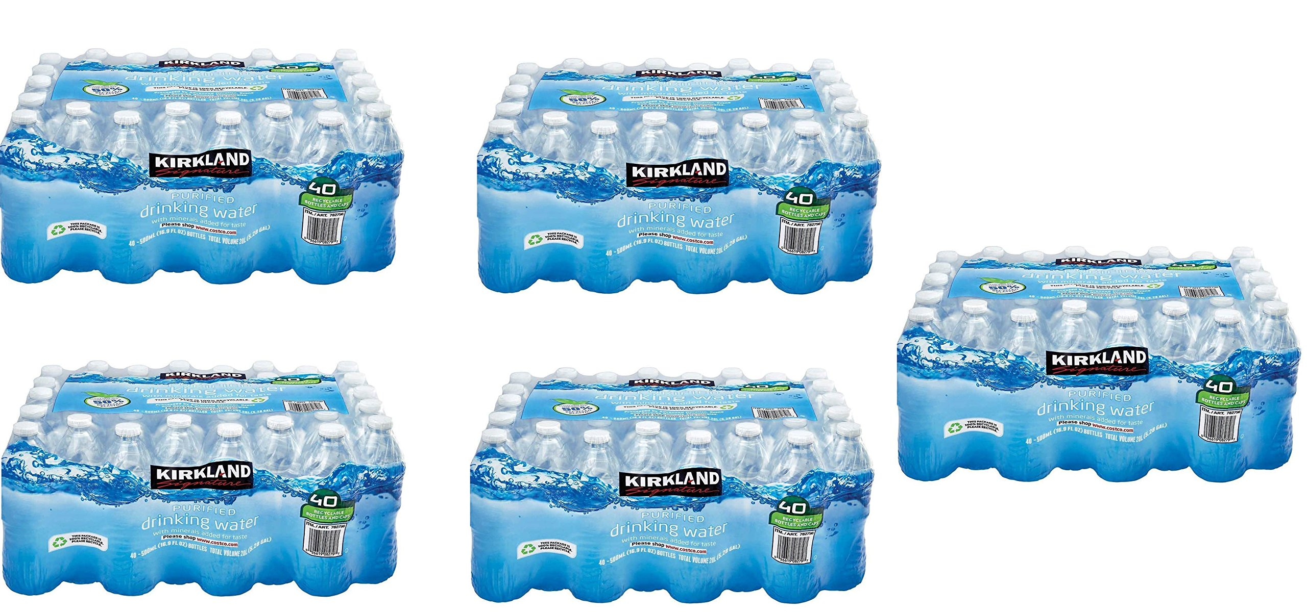 Kirkland Signature Purified Drinking Water, 16.9 Ounce, 5 Pack of 40 Bottles