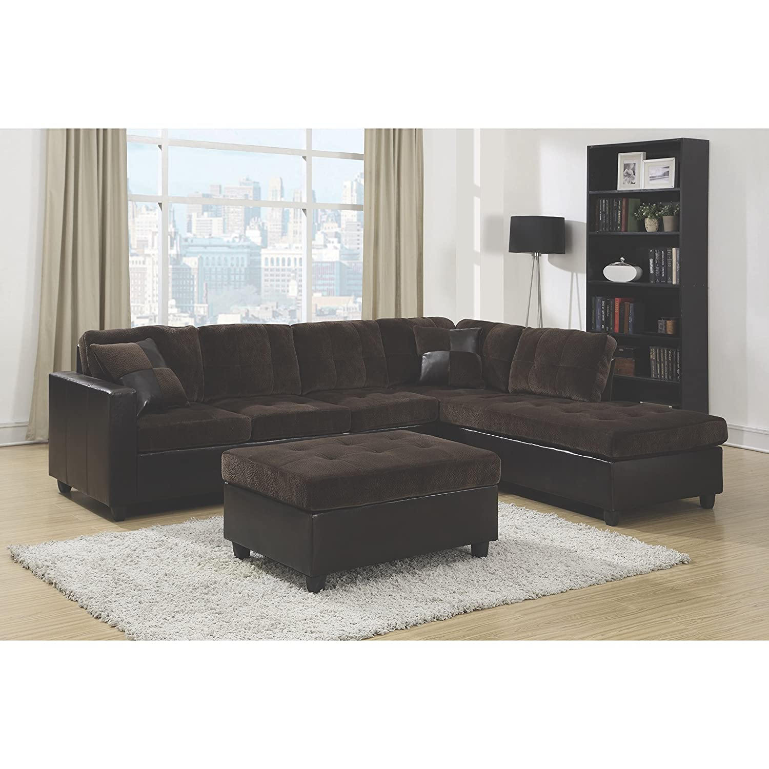 Amazon.com: Coaster Home Furnishings 505645 Casual Sectional Sofa,  Chocolate: Kitchen U0026 Dining Part 95