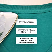 100 Pre-Cut Iron On Personalized Clothing Name Labels / Tags for Nursing Homes, Camp, College, Day Care and Uniforms w…