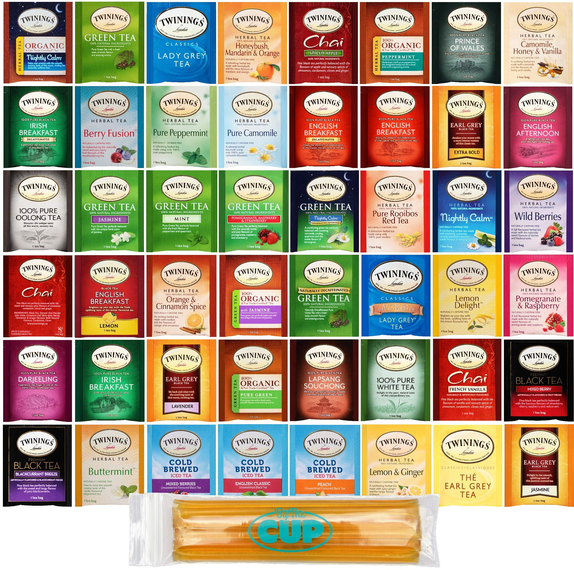 Twinings Hot Tea Sampler Gift Pack, 96 Count Assortment Includes Organic, Green, Black, Herbal, Earl Grey, English Breakfast, Decaf, Camomile, Chai Tea and More with By The Cup Honey Sticks