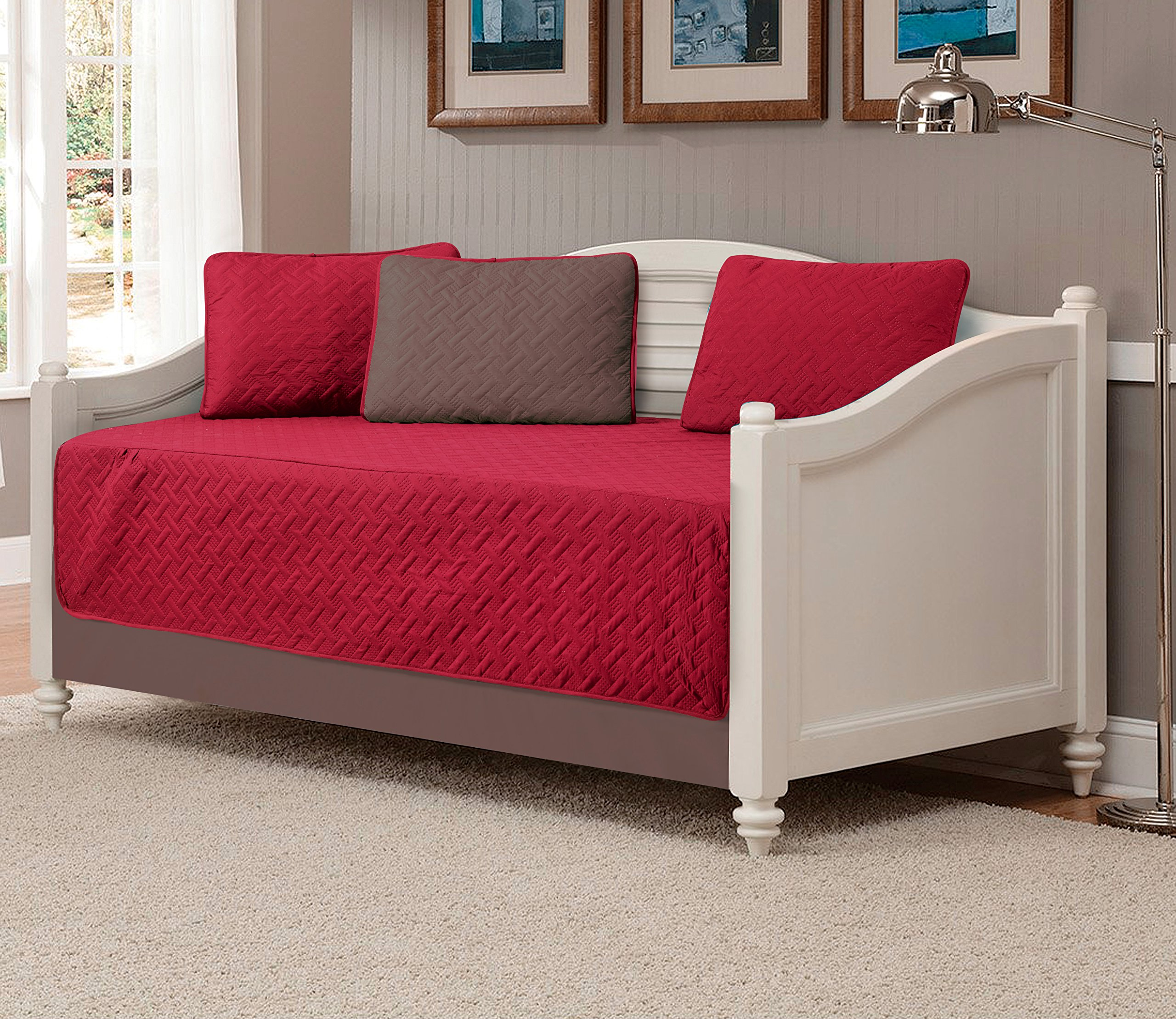 Mk Collection 5pc Modern Bedspread DayBed Solid Embossed Reversible Burgundy/Taupe New