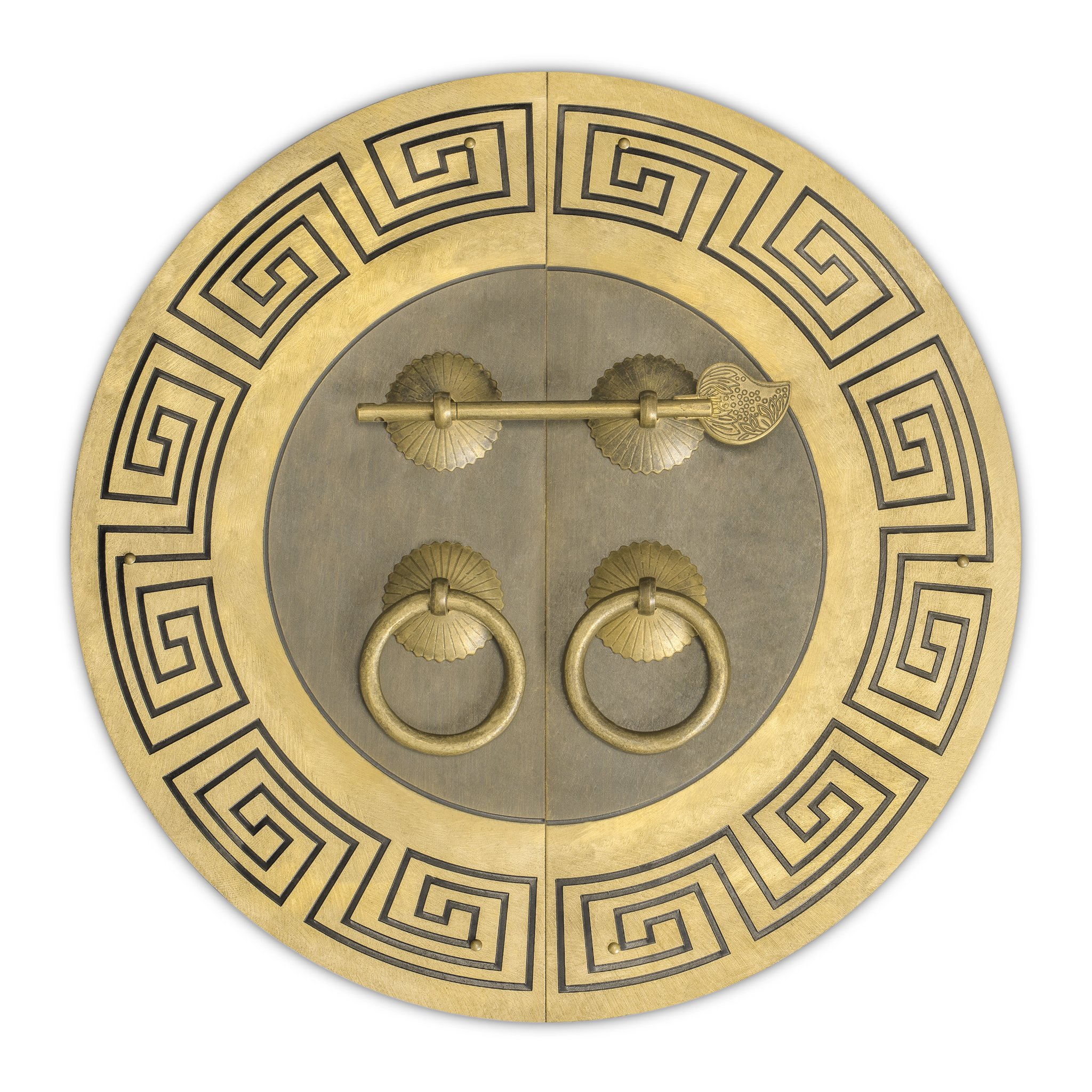 Chinese Brass Hardware Tibetan Cabinet Face Plate 9-1/2''
