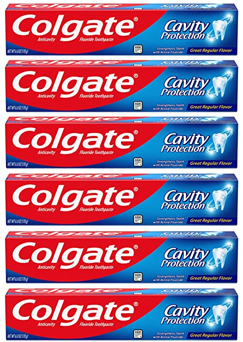Colgate Cavity Protection Toothpaste with Fluoride, ADA Accepted - 6 Ounce (Pack of 6)