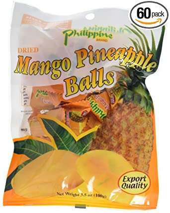 Philippine Brand Dried Mango Pineapple Balls 3 5 Ounce Pouches
