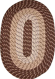 product image for Plymouth 8' Round Braided Rug in Brown Made in USA