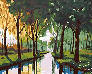 Golden Maple Diy Pre Printed Canvas Oil Painting Gift Adults Kids Paint Number Kits Home Decorations River In Jungle 16 20 Inch