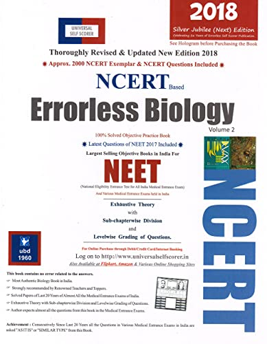 Universal Self-Scorer Errorless Biology for NEET  (Set of 2 Volumes)