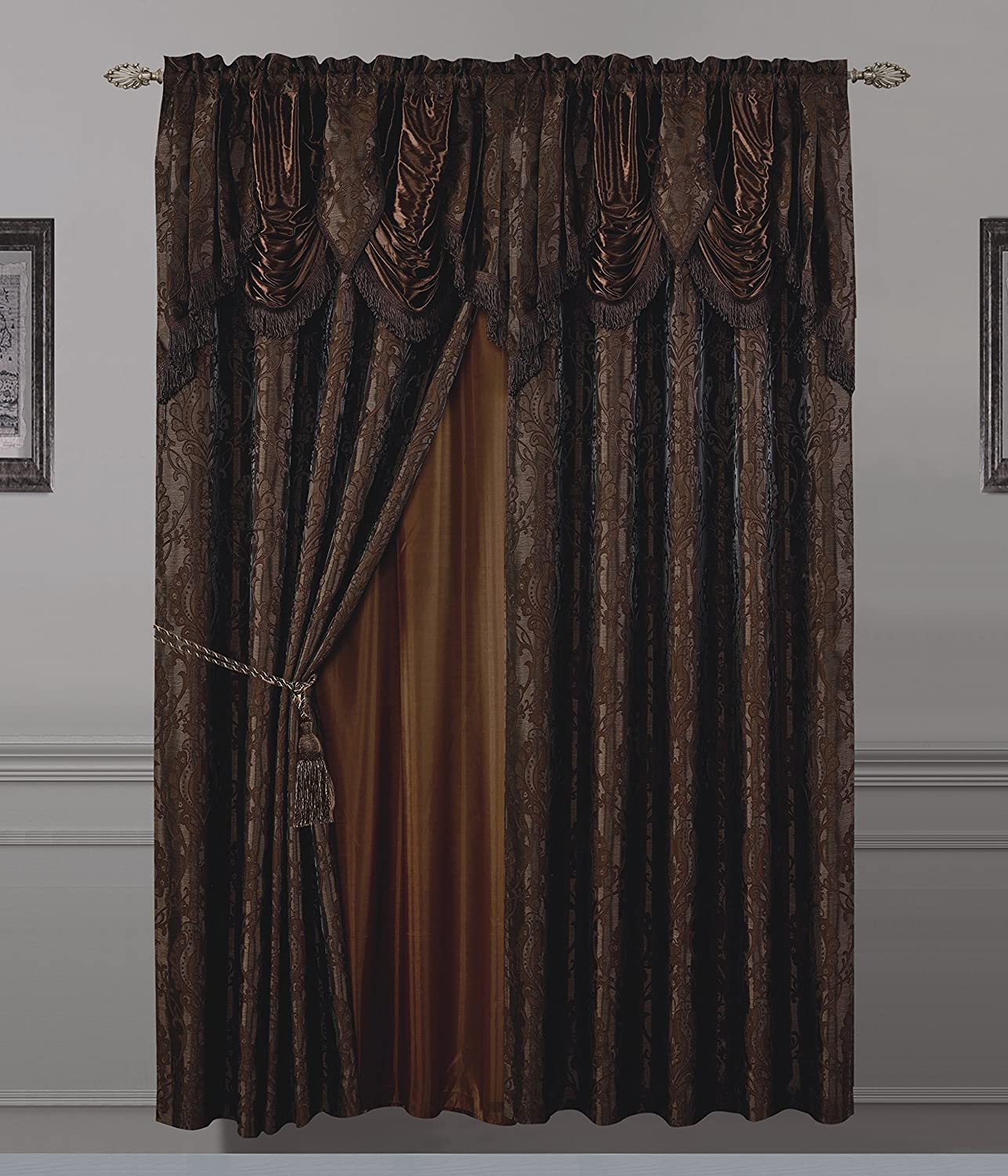All American Collection New 2 Panel Jaquard-Like Polyester Curtain with Attached Valance and Sheer Backing