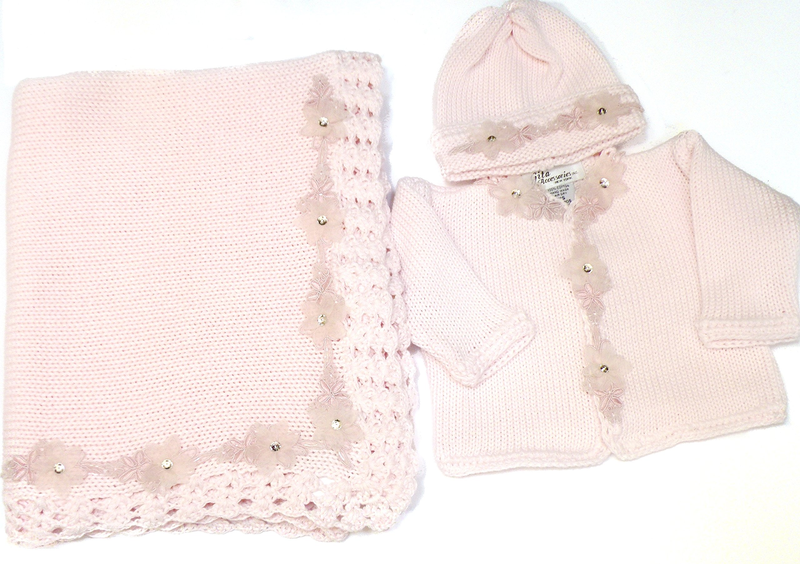 Knitted Pink Cotton Chenille Girls Cardigan Hat Set and Matching Blanket (6-12mo)