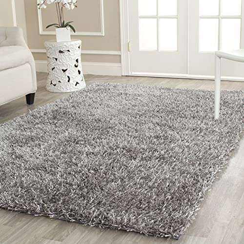 Safavieh New Orleans Shag Collection SG531-8080 Grey Polyester Area Rug 6 x 9
