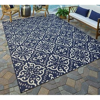 Gertmenian 21565 Nautical Tropical Carpet Outdoor Patio Rug, 5x7 Standard, Navy Floral Medallion