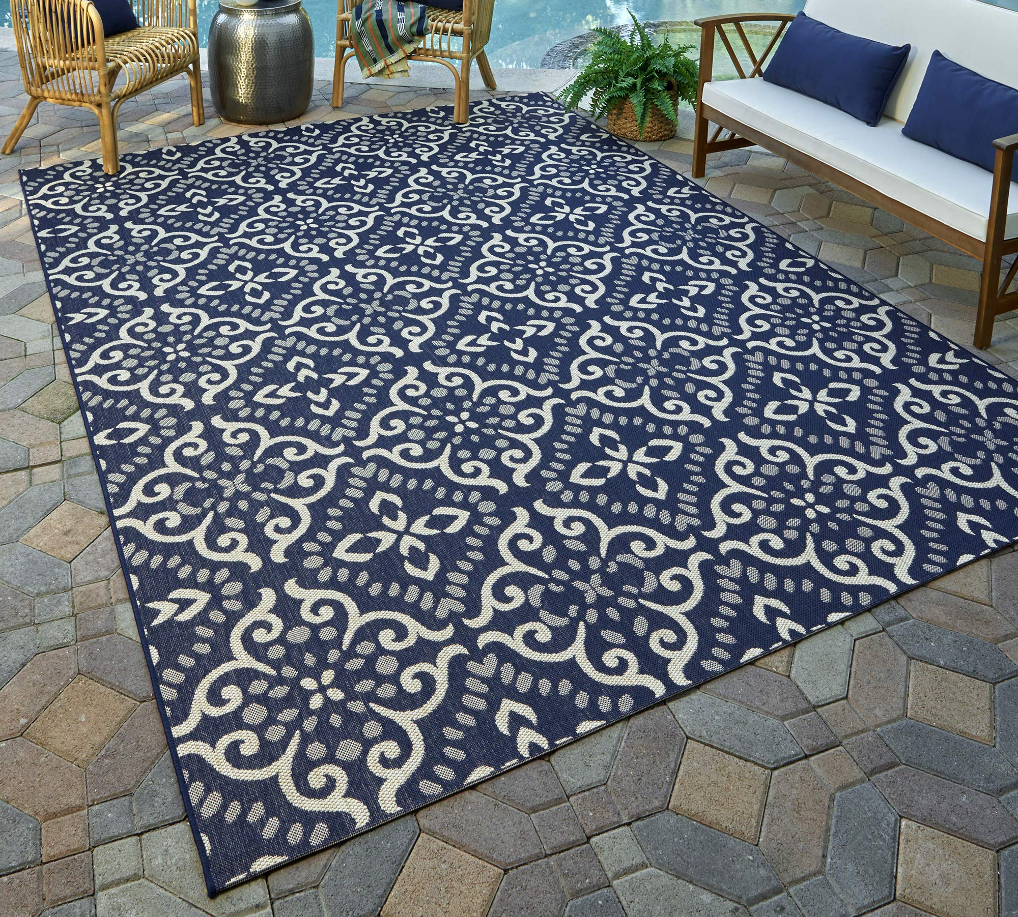 Gertmenian 21565 Nautical Tropical Carpet Outdoor Patio Rug, 5x7 Standard, Navy Floral Medallion by Gertmenian (Image #1)