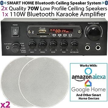 Casa/Restaurante 2 x Perfil Bajo montaje en techo altavoces – Bluetooth/inalámbrico sistema