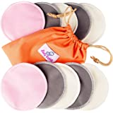 Washable Nursing Pads 10 Pack   Organic Bamboo   Laundry & Travel Bag   Free Breastfeeding & Sleeping Guide   Softest Reusable Breast Pads by BabyVoice (Medium, white-grey-pink)