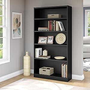 Bush Furniture Universal 5 Shelf Bookcase in Classic Black