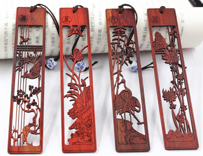 Holz Ebenholz Lesezeichen 4pcs Set Handmade Carving Handwerk mit Geschenk-Box am besten f/ür Weihnachten Geburtstagsgeschenk