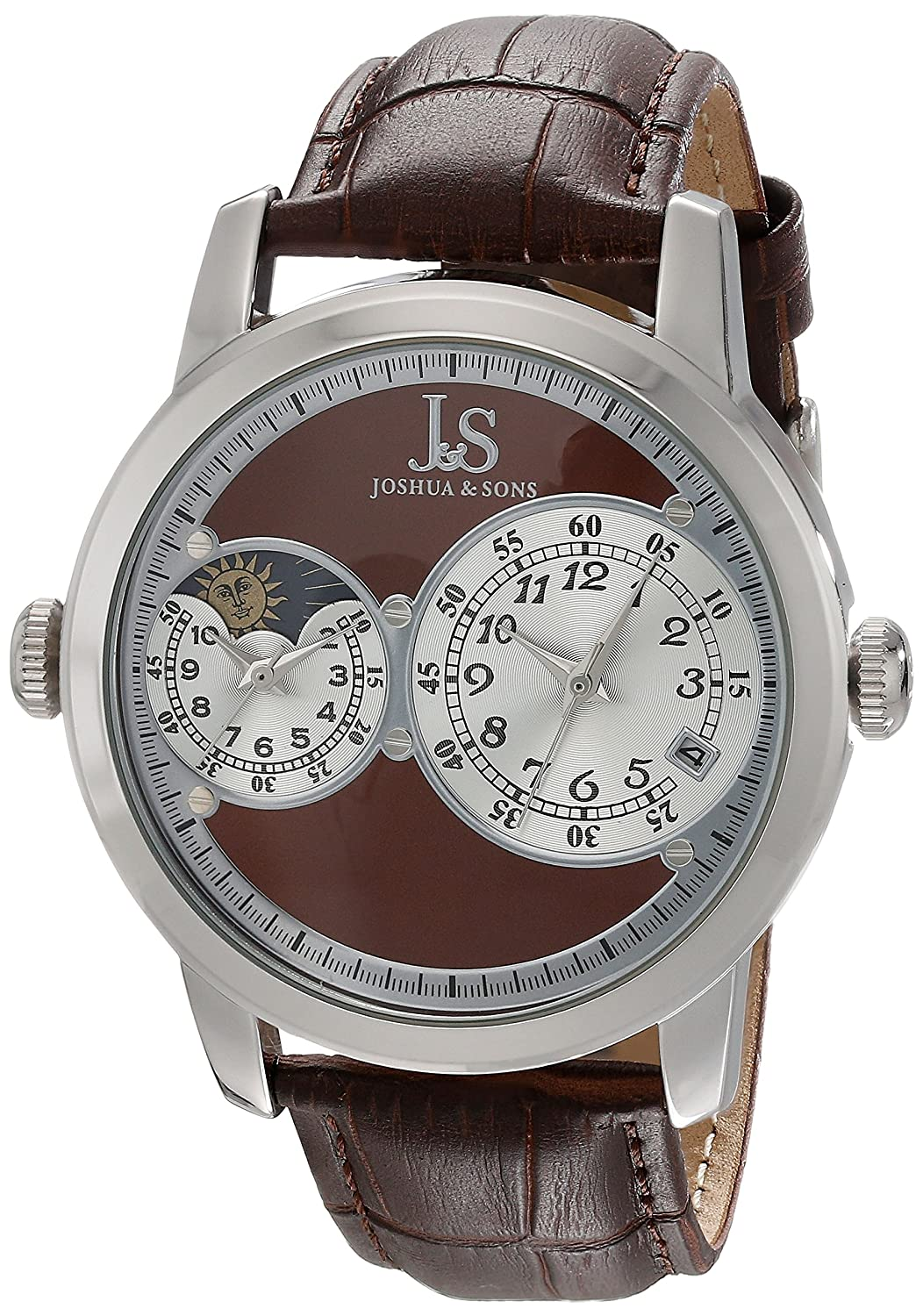 ef6f41c0cce Amazon.com  Joshua   Sons Men s JS87 Dual Time Zone Quartz Watch Round Dial  and Embossed Leather Strap (Rose Gold)  Watches