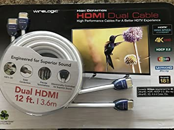 Amazon.com : WireLogic Sapphire HDMI 12 ft Dual Cable High Speed 4K ...