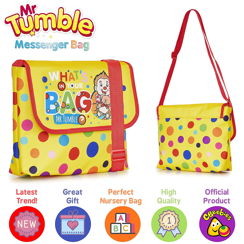 Mr Tumble Spotty BagLarge Hello Mr Tumble Messenger Bag for School Or Travel