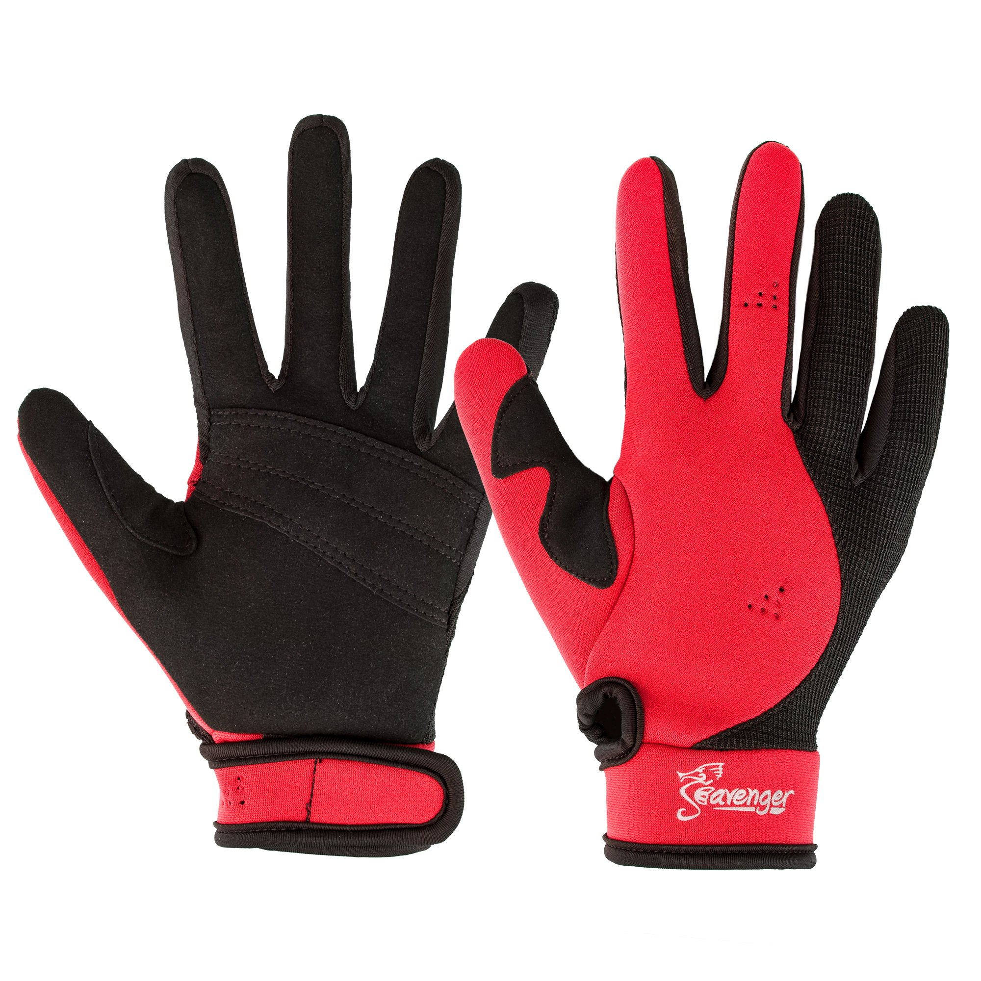 Seavenger Abyss Dive Gloves | 1.5mm Neoprene Mesh | Scuba Diving, Wakeboarding, Spearfishing (Red, Small) by Seavenger